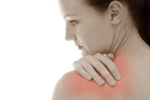 Woman with muscle pain